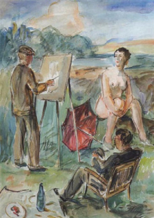 Albert Haueisen (1882-1954) - Der Maler und sein Modell (495x700, 362Kb)