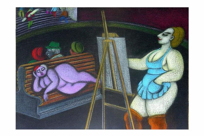 Вельчинская  Ольга -  Художник и модель (1990)     (700x466, 346Kb)