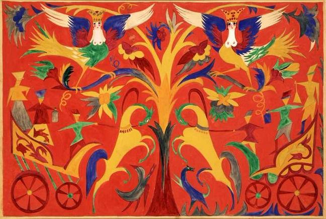 +Эскиз занавеса к балету «Свадебка» на музыку И.Ф. Стравинского. Неосуществленный вариант. Около 1915 (648x435, 402Kb)