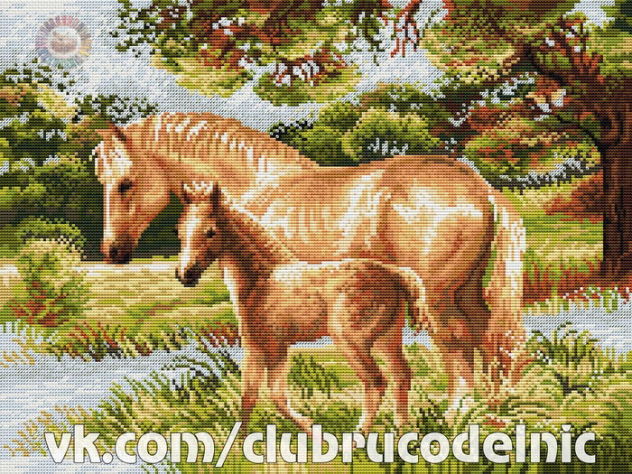 Лошадь с жеребенком (700x525, 685Kb)