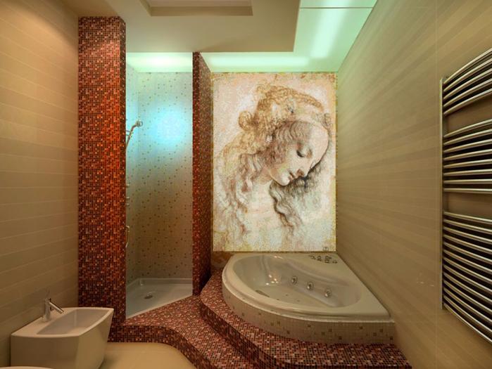 декоративная мозаика в интерьере 3 (700x525, 380Kb)