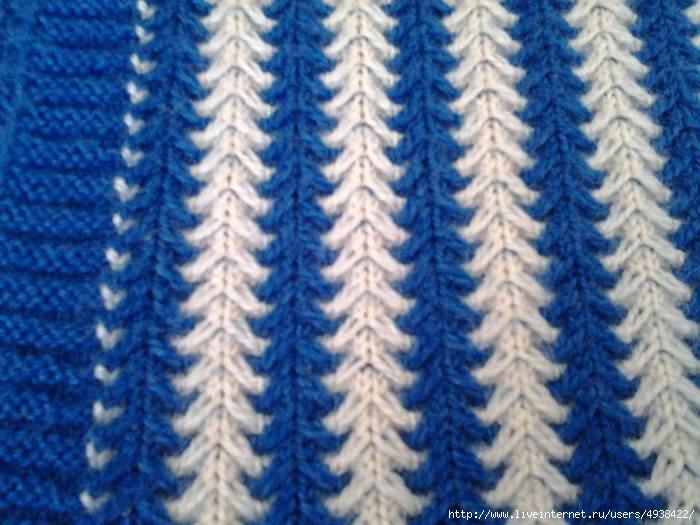 Вязание узор спицами ленивый двухцветный