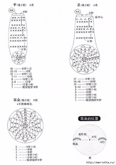 Схемы вязания медвежонка амигуруми (3) (491x700, 166Kb)