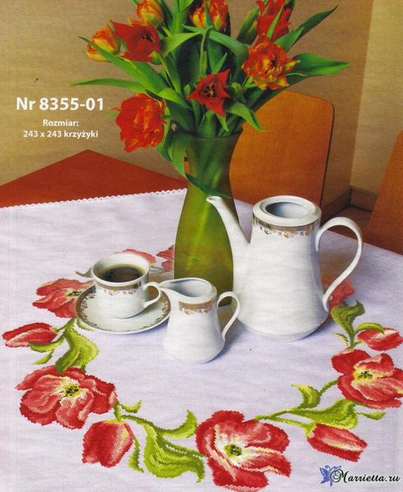 Венок из тюльпанов на скатерти. Схема вышивки крестом (7) (574x700, 500Kb)