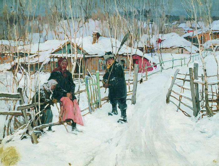 7 Колесников С. Ф. Зима. Околица. 1907 (700x528, 519Kb)