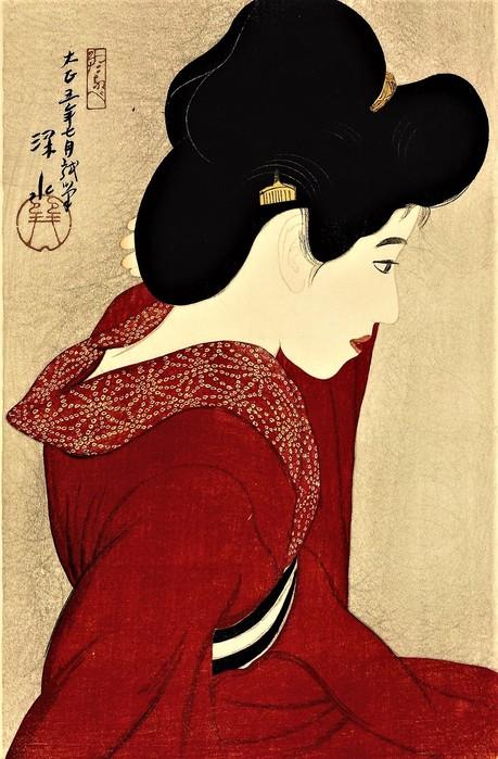 Перед зеркалом (Красная гейша) (Taikyo (Before the mirror))   1916    44 x 28.9_ксилография (459x700, 106Kb)