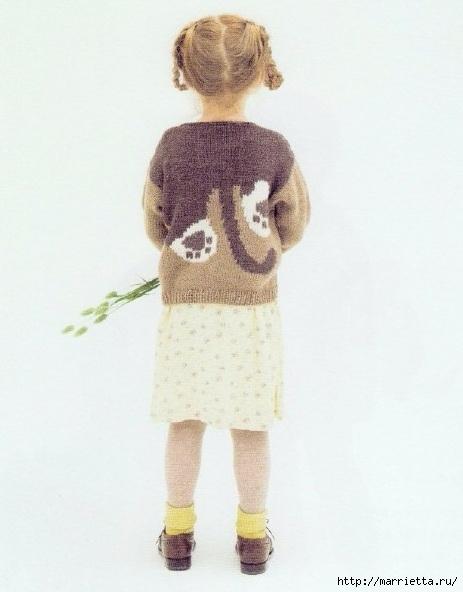 Вязание спицами для девочек. Модели с овечками и кошечкой (5) (463x592, 121Kb)