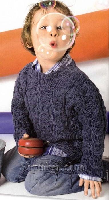 """Пуловер с узором """"Коса"""" для мальчика, детский пуловер спицами описание схема, пуловер для мальчика 4-8 лет связать, вязание для детей с описанием, вязание для мальчиков, пуловер для мальчика спицами описание схема, свитер для мальчика спицами, пуловер с косами спицами, пряжа для вязания спицами, купить пряжу, сайт о вязании спицами, Шпуля сайт о вязании, www.shpulya.com/5557795_1672_1 (381x700, 204Kb)"""