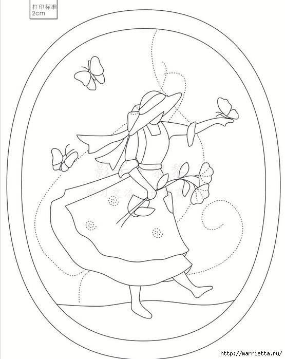 Лоскутный квилт. Панно «Дамы» (1) (555x700, 155Kb)