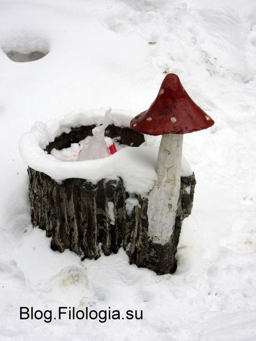 Декоративная урна с грибом с красной шляпкой (525x700, 43Kb)