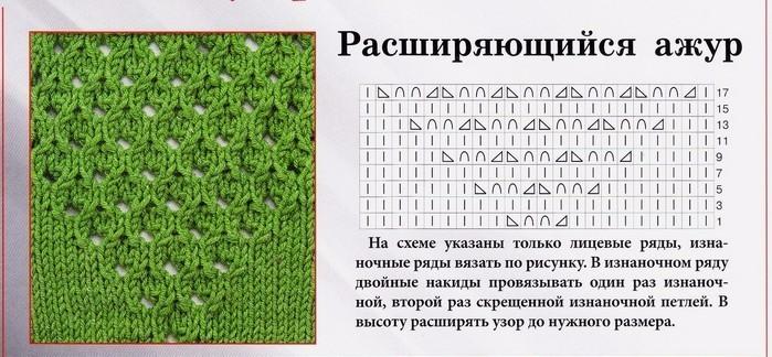 Рисунок вязания с накидами 810