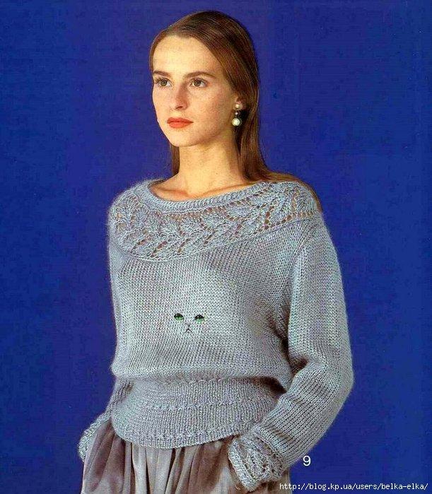 Вязание женских пуловеров спицами из тонких ниток 23