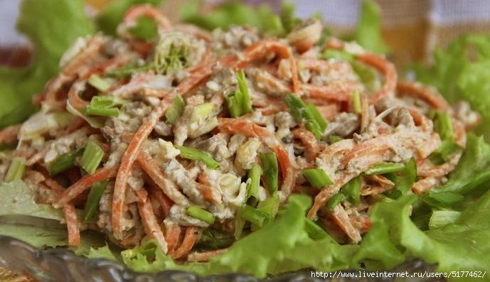 Салат из варёной куриной печени