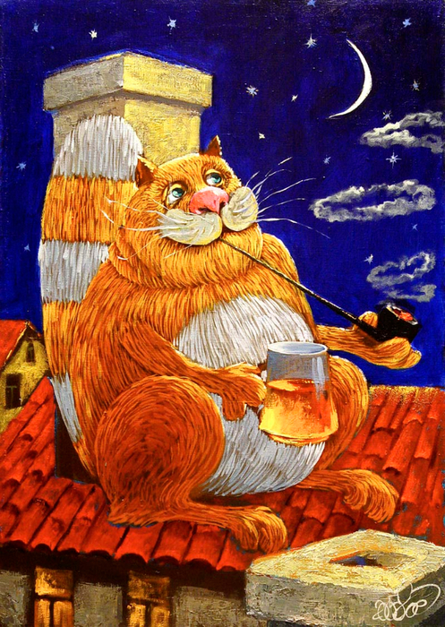 994_anton_gorcevich_painted_cat (1) (497x700, 556Kb)
