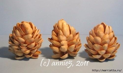 Цветы из шишек, семечек, листьев кукурузы, фисташек и макарон (8) (500x300, 83Kb)