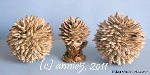 Цветы из шишек, семечек, листьев кукурузы, фисташек и макарон (9) (500x250, 86Kb)