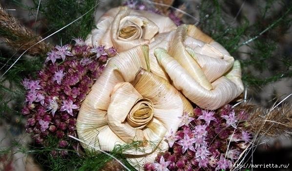 Цветы из шишек, семечек, листьев кукурузы, фисташек и макарон (23) (598x350, 201Kb)