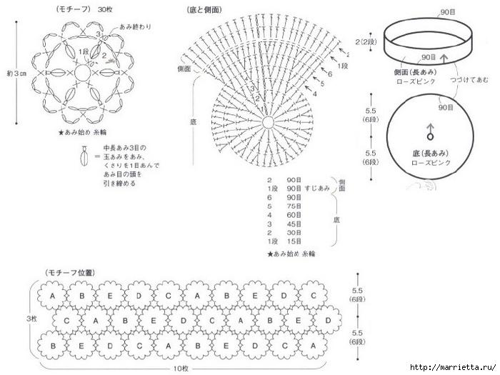 мешок крючком схема вязания