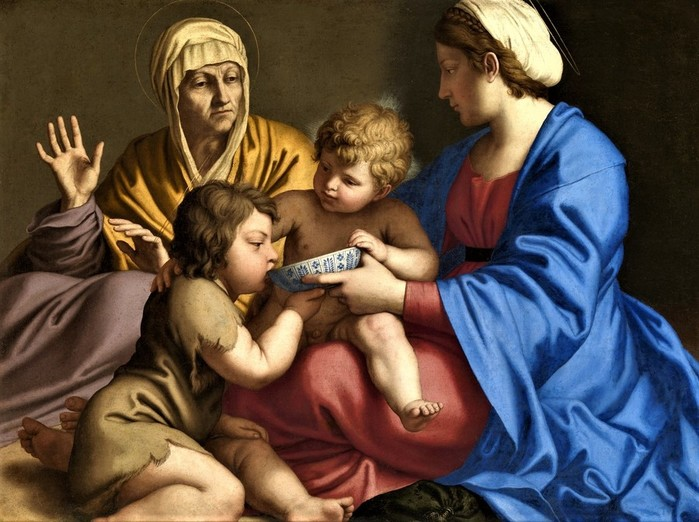 Мадонна с Младенцем, юным Иоанном Крест и св.Елизаветой   ок.  1640 (Virgin and Child with Saint Elizabeth and the Child Baptist)   73.4 х 97.5   х.,м.   Гла (700x522, 103Kb)