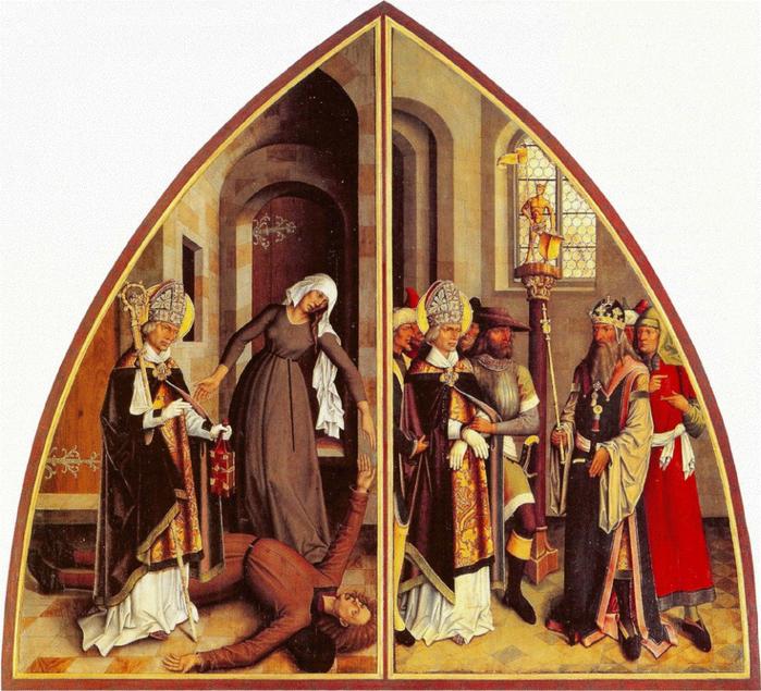 Bartholomeus Zeitblom St. Valentin cures the epileptic and refuses the idol service 1 (700x635, 565Kb)