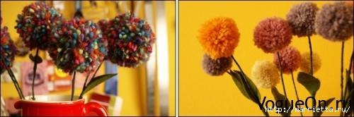Делаем из ниток весенние цветы. Помпоны (11) (500x166, 68Kb)