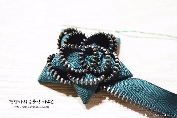Своими руками. Брошь - цветок из молнии (9) (700x466, 175Kb)