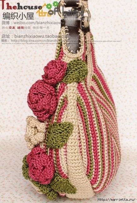 Крючком. Весенняя сумочка с цветами (3) (437x649, 257Kb)