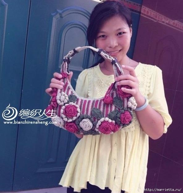 Крючком. Весенняя сумочка с цветами (9) (592x625, 199Kb)