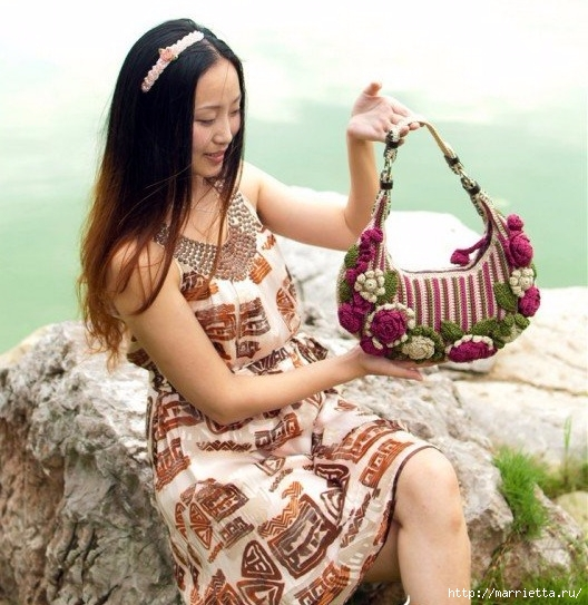 Крючком. Весенняя сумочка с цветами (15) (528x543, 209Kb)