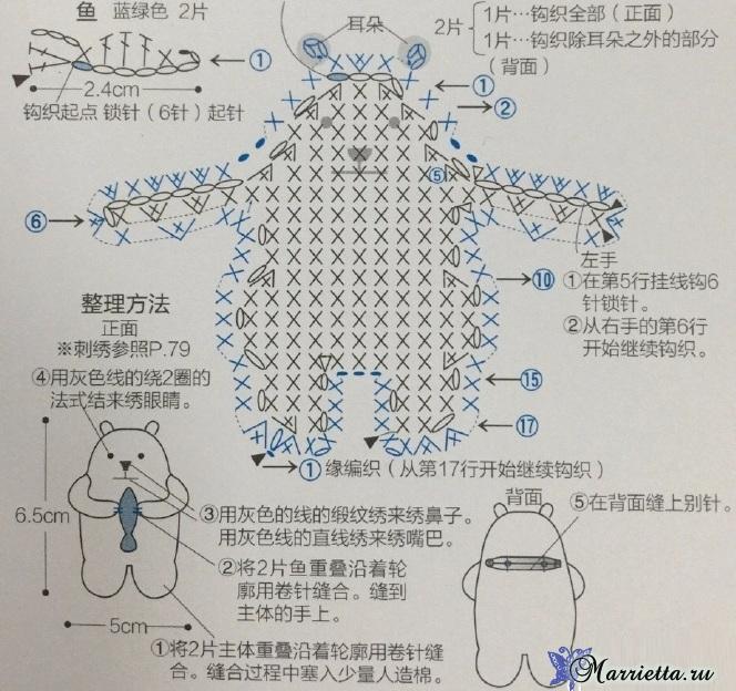 Амигуруми. Белый медведь с рыбкой (3) (664x624, 385Kb)