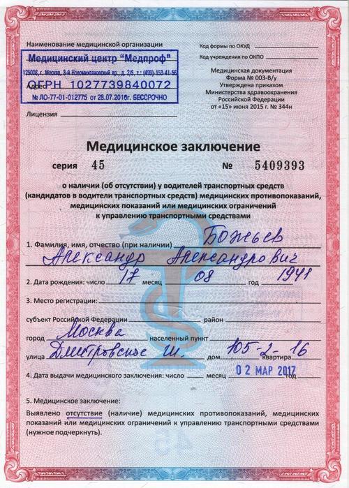 Скоько в россии действительна водительская справка медосмотра терпеливо складывал