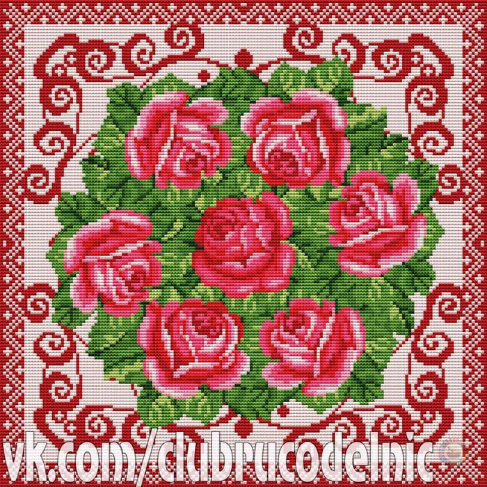 вышивка.Подушка Розы (700x700, 922Kb)