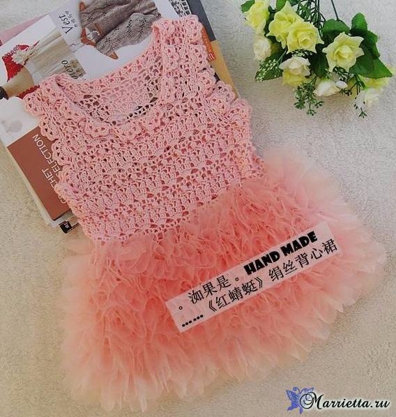Нарядное платье крючком для маленькой принцессы (6) (568x598, 366Kb)