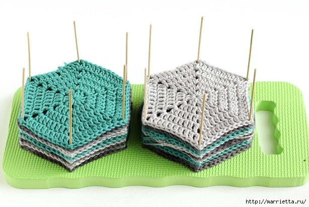 Разноцветный плед крючком шестиугольными мотивами (8) (614x413, 176Kb)