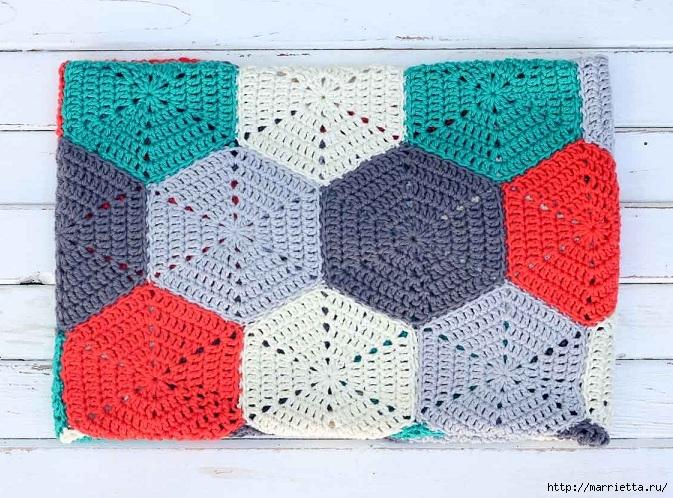 Разноцветный плед крючком шестиугольными мотивами (10) (673x498, 305Kb)