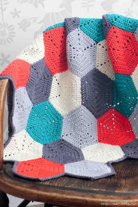 Разноцветный плед крючком шестиугольными мотивами (12) (466x700, 303Kb)