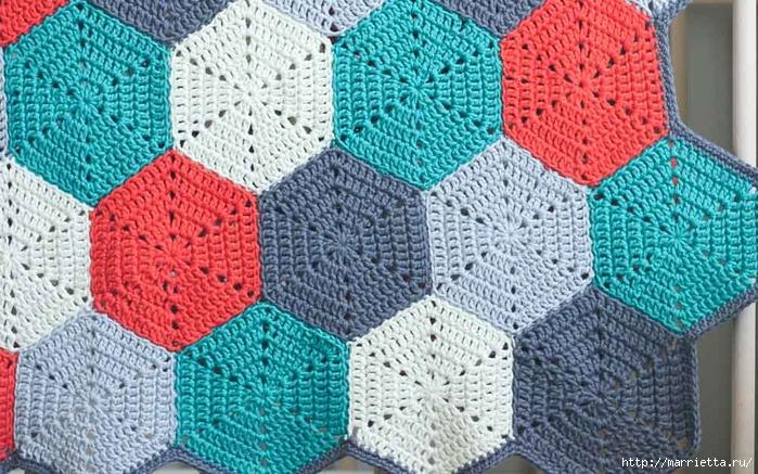 Разноцветный плед крючком шестиугольными мотивами (14) (700x437, 342Kb)