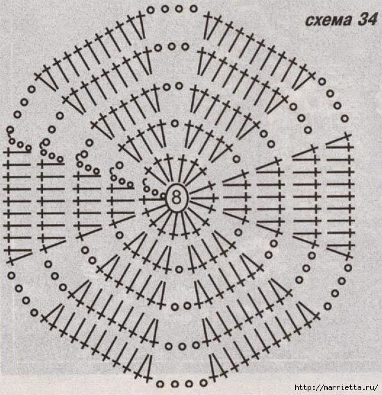 Шестиугольник крючком схема коврик