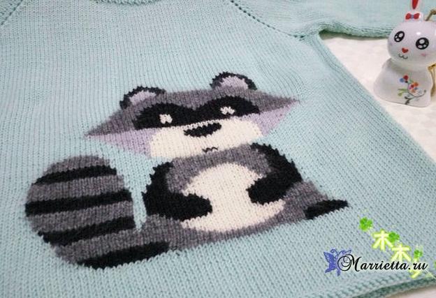 Детский пуловер с ЕНОТОМ спицами (1) (624x427, 272Kb)