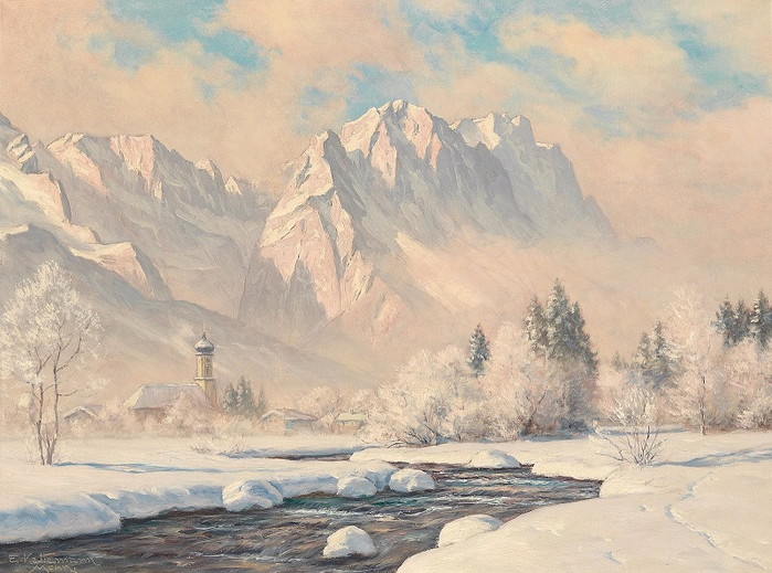 Зимнее утро в Гармише в Веттерштайне (Winter Morning in Garmisch with the Wetterstein) (700x519, 405Kb)