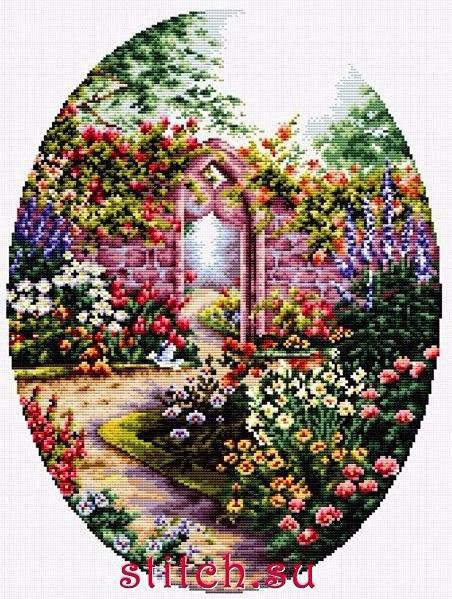 вышивка Дворик в цветах (452x599, 405Kb)