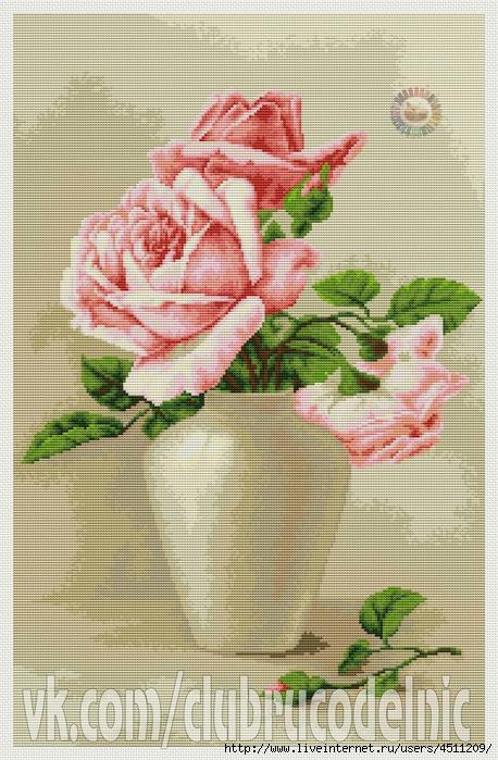 Розовые розы в вазе (458x700, 345Kb)