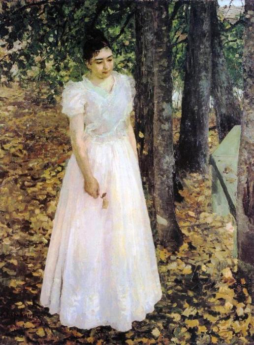 Осенью (Девушка в саду) (1891) (516x700, 449Kb)