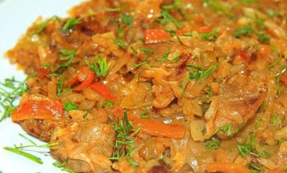рис с мясом и капустой рецепт