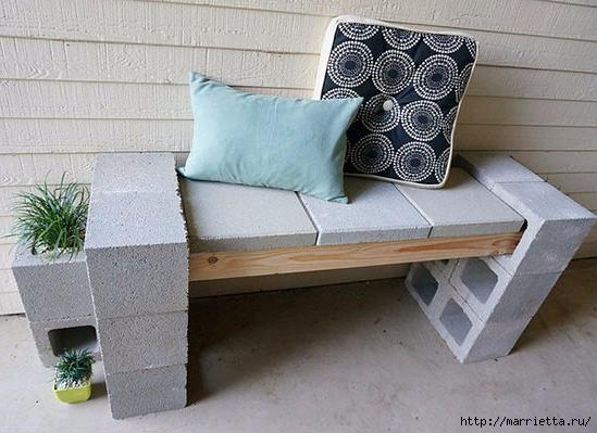 Для сада. Скамейки из блоков и досок (11) (549x399, 142Kb)