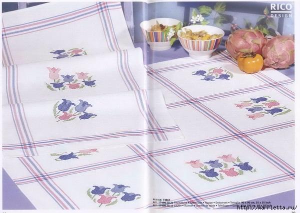Нежная весенняя вышивка для скатерти. Схемы (7) (600x427, 177Kb)