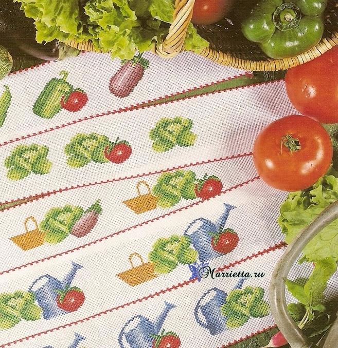 Овощная тема для вышивки кухонных аксессуаров (2) (657x678, 749Kb)