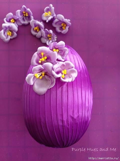 Декоративное пасхальное яйцо с цветами из лент. Мастер-класс (9) (480x640, 167Kb)