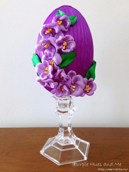 Декоративное пасхальное яйцо с цветами из лент. Мастер-класс (13) (525x700, 255Kb)