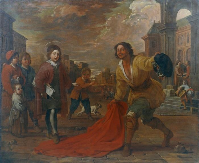 Antoni_Viladomat_-_A_Simple_Man_Lays_his_Cloak_at_the_Feet_of_Saint_Francis_as_a_Child_-_Google_Art_Project (700x573, 136Kb)